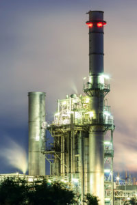 Gas Turbine Electric Power Plant In The Morning
