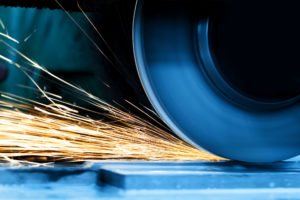 Sparks From Grinding Machine In Workshop Industrial Background Industry Sparks From Grinding Machine Industrial Industry